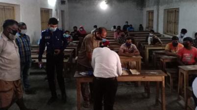 চাঁপাইনবাবগঞ্জে বিশেষ অভিযান : মাস্ক না পড়ায় ৩৩ জনকে জরিমানা