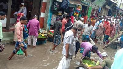 মির্জাগঞ্জে নদীর পানি বৃৃদ্ধি, সুবিদখালী বাজার প্লাবিত