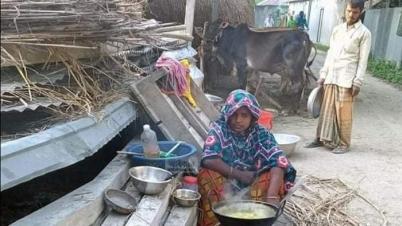 মহাদুর্যোগে অনাহারে-অর্ধাহারে জীবন কাটছে সিরাজগঞ্জের বানভাসিদের