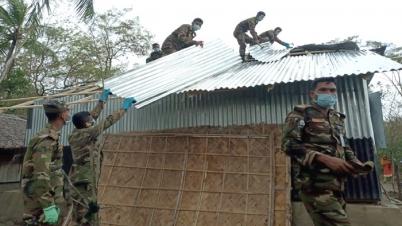 কলাপাড়ায় ঘুর্নিঝড়ে ক্ষতিগ্রস্থদের ঘর নির্মানে সেনাবাহিনী